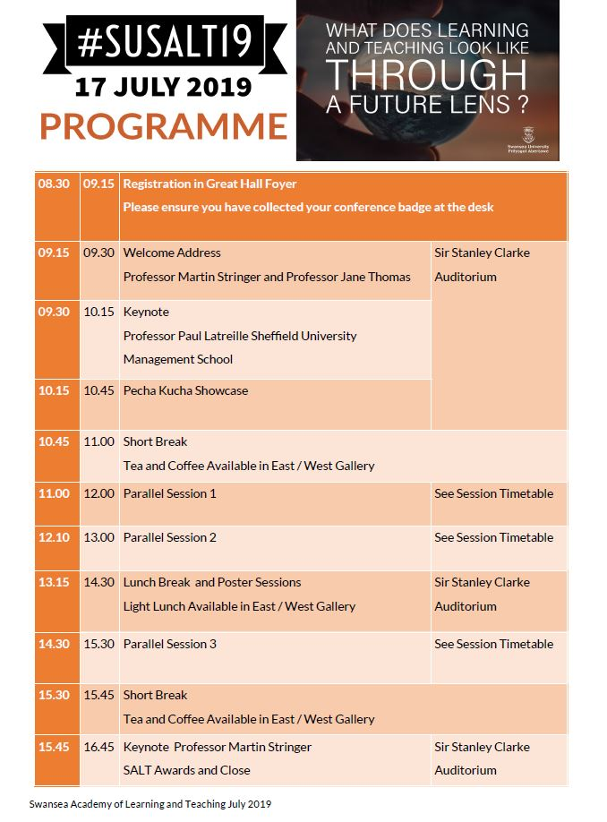 08.30 Registration in Great Hall Foyer 09.15 Welcome Address in Stanley Clarke Auditorium 10.45 Break 11.00 Parallel Session 1 12.10 Parallel Session 2 13.15 Lunch Break and Posters 14.30 Parallel Session 3 15.30 Break 15.45 Closing Keynote and Awards 16.45 Close